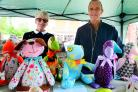 PICK A BEAR: Yvette and Alan Bowm show off their colourful bears at the event