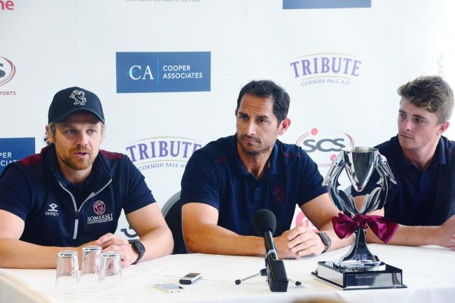 Somerset County Cricket Club's One-Day Cup press conference. James Hildreth, Jason Kerr and Tom Abell. Pic: Steve Richardson.
