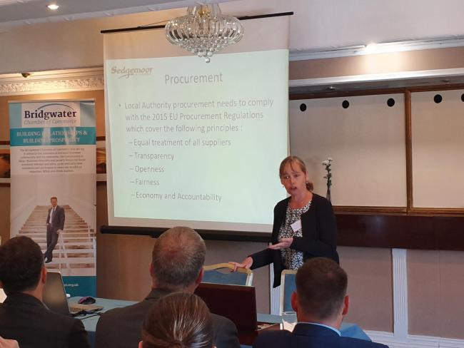 PRESENTATION: Sedgemoor District Council's Joanna Hutchins speaks at the Chamber of Commerce event