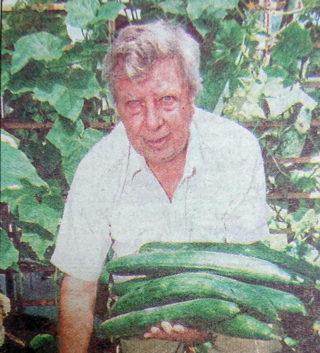 BUMPER CROP: Michael Anthony with some of his cucumbers in 1999
