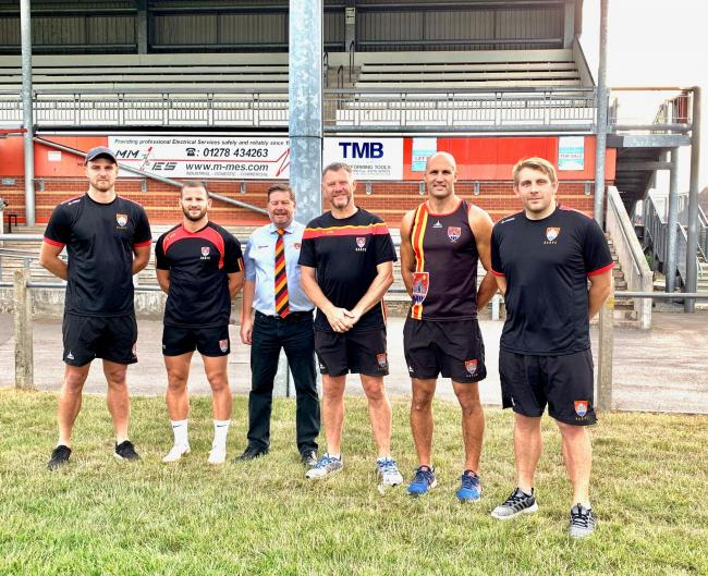 Bridgwater & Albion coaches (from left): Ollie Devoto, Richard Bright, Steve Smith, Geoff Sluman, Wayne Sprangle and Carl Rimmer.