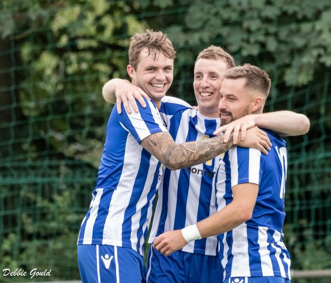 ROUT: Sam Towler, Steve Murray and Jack Taylor all scored in Bridgwater Town's 8-1 win at Chipping Sodbury. Pic: Debbie Gould