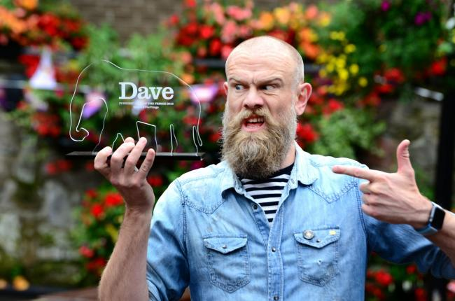 WINNER: Comedian Olaf Falafel wins the Dave Joke of the Fringe 2019 award. PICTURE: UKTV Dave/Martina Salvi