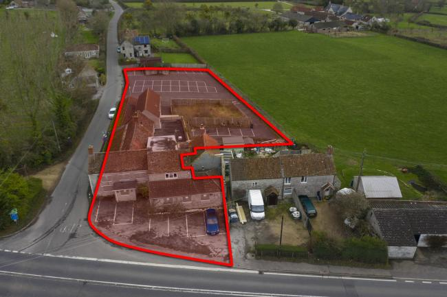 DEVELOPMENT OPPORTUNITY: The site of the former Queens Arms, at Wraxall, near Shepton Mallet