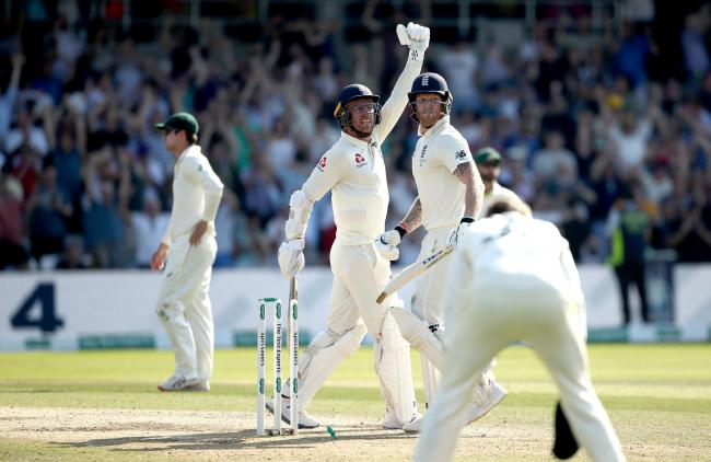 England's Jack Leach and Ben Stokes (right) celebrates victory during day four of the third Ashes Test match at Headingley, Leeds. PRESS ASSOCIATION Photo. Picture date: Sunday August 25, 2019. See PA story CRICKET England. Photo credit should read: T
