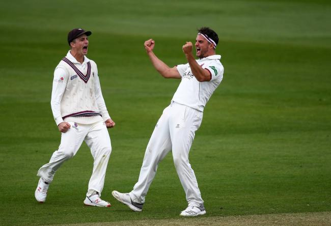 KEY PLAYERS: Jack Brooks (right) celebrates with Tom Abell. Pic: Alex Davidson/SCCC