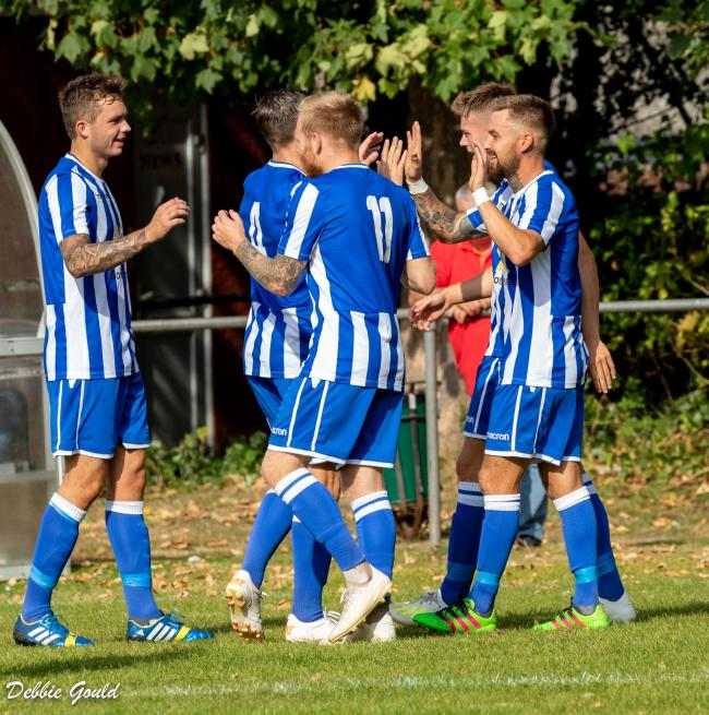 CELEBRATIONS: Bridgwater Town are looking for another away day win. Pic: Debbie Gould