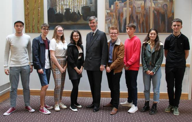VISIT: Cristian Muresan, Marcus Boatwright, Holly Anne Thornton, Ellie Brown, MP Jacob Rees-Mogg, Charlie Bowles , Oliver Fletcher, Orla Donoghue and Sam Neath