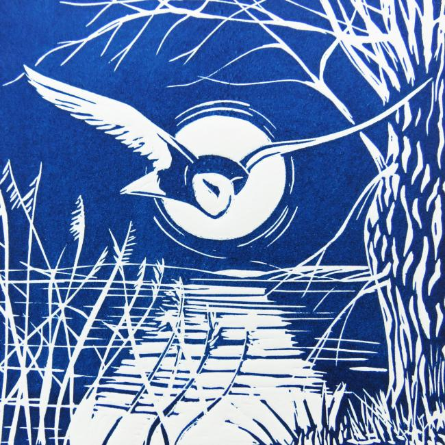 'Barn Owl in Flight' and 'Cranes and Lapwing' by Jackie Curtis