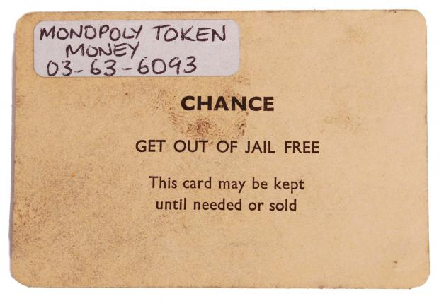 Bridgwater Mercury: CHANCE CARD: 'Get Out Of Jail' they infamously used in a game of Monopoly by the Great Train Robbers. Picture: SWNS