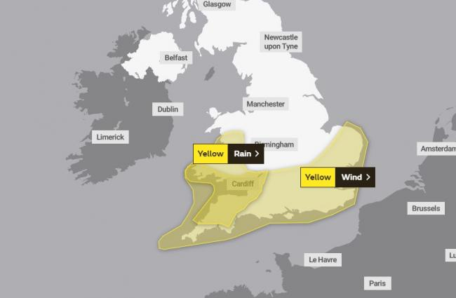WEATHER WARNING: The Met Office has warned heavy rain and strong winds are expected to hit the county