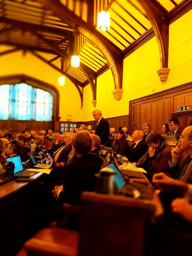 DELIVERY: Cllr David Fothergill during the budget meeting