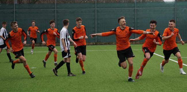 JETTING OFF: Luke Manley, here celebrating scoring a winning goal, is set to study in the USA (pic: Viv Curtis)