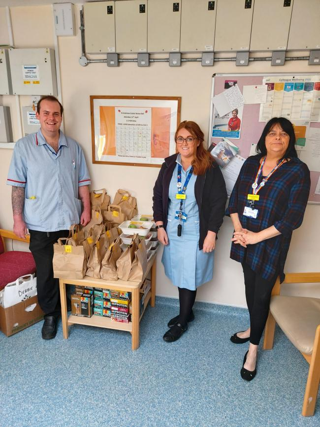 APPRECIATION: Musgrove staff with food parcels provided by the fundraising appeal