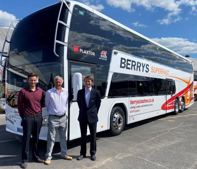 ADDITION TO THE FLEET: James, Stuart and Scott Berry with the new coach