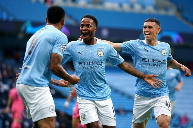 Raheem Sterling (centre) celebrates scoring against Real Madrid on Friday before insisting Manchester City are