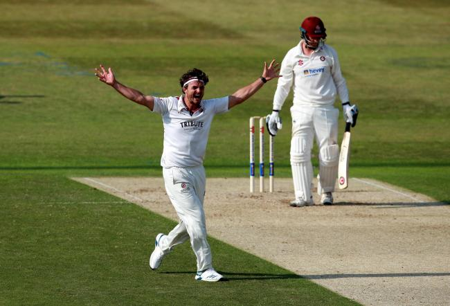 CELEBRATION: Jack Brooks took four second-innings wickets at Northants (pic: SCCC)
