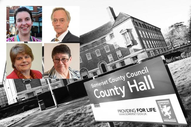 PLANS: District leaders, clockwise from top left, Federica Simth-Roberts (Somerset West and Taunton), Duncan McGinty (Sedgemoor), Val Keitch (South Somerset) and Ros Wyke (Mendip) are set to present plans and work with Somerset County Council on unitary p