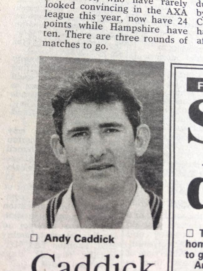 BIG SCORE: Somerset cricketer Andy Caddick in September 1995