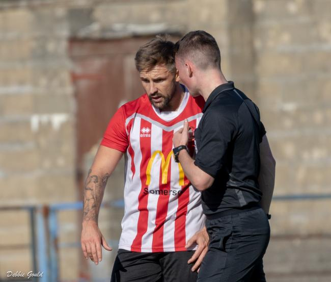 HEADING IN THE RIGHT DIRECTION: Mark Armstrong, who scored Bridgwater Town's opener against Wellington (pic: Debbie Gould)