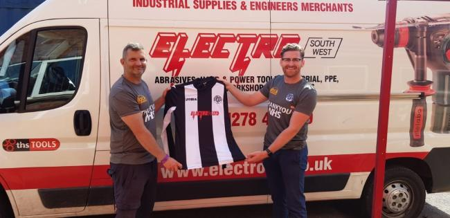 SUPPORT: Electro SW and Alec Clapp have sponsored a new set of long sleeve shirts for Middlezoy Rovers for the 2020/21 season