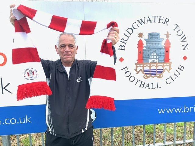 BRILLIANT EFFORT: Bridgwater Town chairman Bob Buckingham, after completing the #United4Bridgwater challenge (pic: twitter.com/OfficialBTFC84)