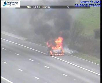 Car on fire on M5 northbound. Image: Highways England