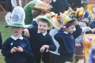 Pupils at Burnham Infant School during the Easter bonnet parade.