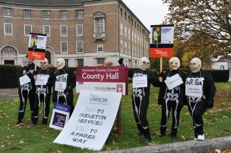 UNISON skeletons protest against cuts