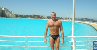 SUCCESS: Keen swimmer Michael pictured after taking a dip in the world's longest pool