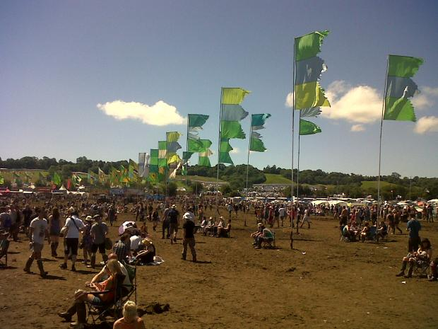 Bridgwater Mercury: THE sun comes out at Glastonbury 2011.