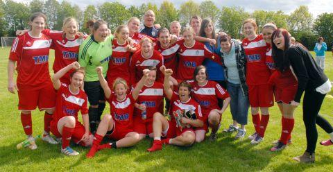 Bridgwater Town Ladies celebrate their promotion in style. PHOTO: Andy Slocombe