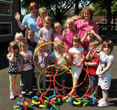 Rainbow Playgroup hosting their own Olympic games with Deanna Swaine, key person and Sue Edney, supervisor