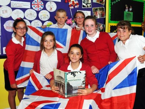 Sedgemoor school Jubilee display with Leah, 10, Roxanne, 11, Jessica, 11, Dillon, 11, Brittany, 11, Kirsty, 11 and Jade F, 11