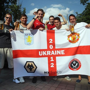 England fans letting their hair down in Donetsk, Ukraine