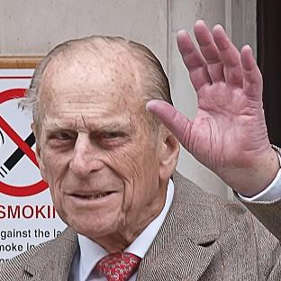 Bridgwater Mercury: The Duke of Edinburgh waves as he leaves King Edward VII Hospital in central London