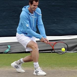 Andy Murray during practice on day five of the 2012 Wimbledon Championships