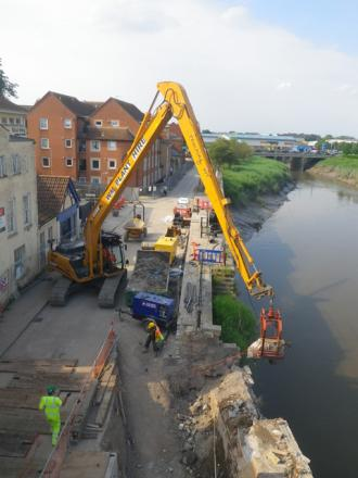 A complete repair project was needed for Bridgwater's West Quay wall