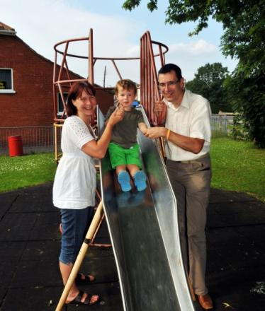 Sharon Tait, her husband Nick, and son James, aged two, are all looking forward to Puriton's new play facilities.
