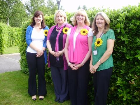 Pictured, from left, are St Margaret's Hospice shop managers, Donna Stuckey, Claire Roberts, and Janet Dodgson, with the college's Sue Sellick.