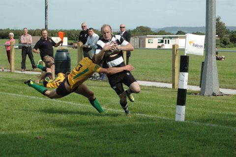 Gavin Hancock runs over the line for North Petherton's first try. PHOTO: Chris Hancock