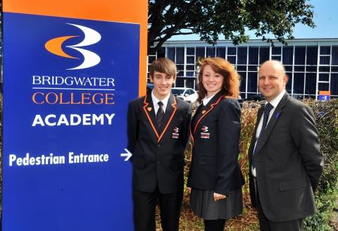 Head boy Scott Kilday, 15, head girl, Chelsie Coombes, 15, with executive head te