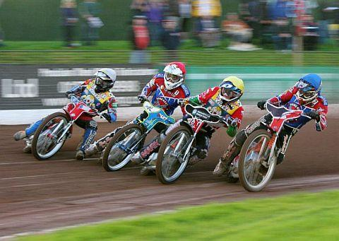Jason Doyle (second from left) and Alex Davies (far right) help the Rebels to the perfect start in heat one.