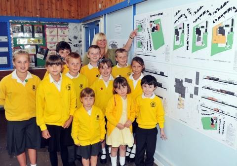 St. Mary's Primary School with the plans for four classroom extensions with Headteacher Mary-Jane Collington.