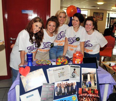 Students' Union members Kayleigh Edwards, Lucy Williams, Beth Ridler, Zoe Verncombe and Jazmin Hodges