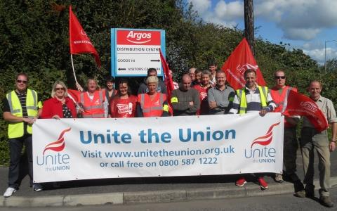 Workers support picketers at Bridgwater's Argos distribution centre over pension strike