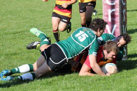 Rob Thompson crashes over the try line. PHOTO: David Pomeroy