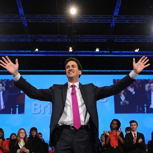 Labour leader Ed Miliband delivers his keynote speech at the Labour Party Conference in Manchester