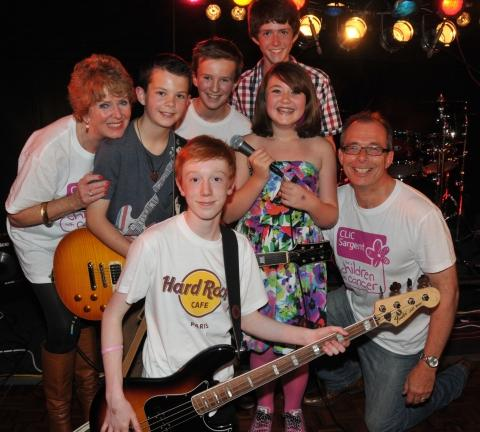 Helpers Mike and Viv Haynes with Young Generation, including lead singer Francesca Smith