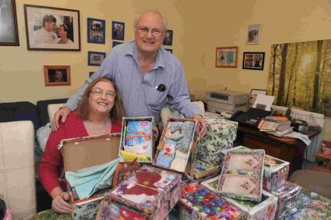 John and Andrea Scott need a new space to store all the Christmas shoeboxes and other items they receive for their charity
